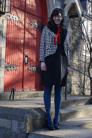 black thrifted vintage dress - black vintage sale jacket - red thrifted vintage
