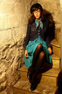 Blue-thrifted-vintage-dress-blue-levis-via-consignment-store-jacket-black-h-