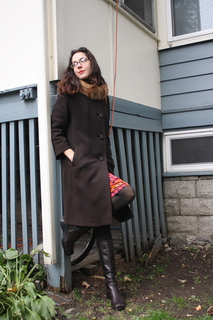 thrifted coat - American Apparel tights - an Italian market boots - H&amp;M dress - 