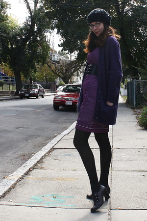 black Target boots - purple vintage dress - black H&amp;M hat