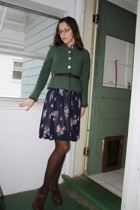 vintage jacket - vintage dress - Anthropologie sweater - thrifted belt - born sh