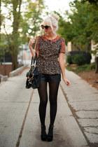 black leather f21 shorts - black Karen Walker sunglasses