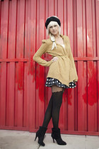 asos tights - mustard Anthropologie cardigan - black Forever21 skirt - gold vint