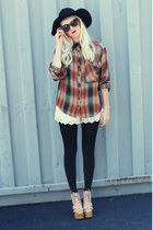 vintage hat - Urban Outfitters shirt - Forever21 shorts - Jeffrey Campbell heels