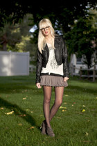 black BDG jacket - gray Dolce Vita heels - gray f21 skirt - white Jedidiah t-shi