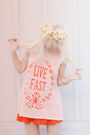 Peach-wildfox-top-nude-h-m-shoes-red-urban-outfitters-dress