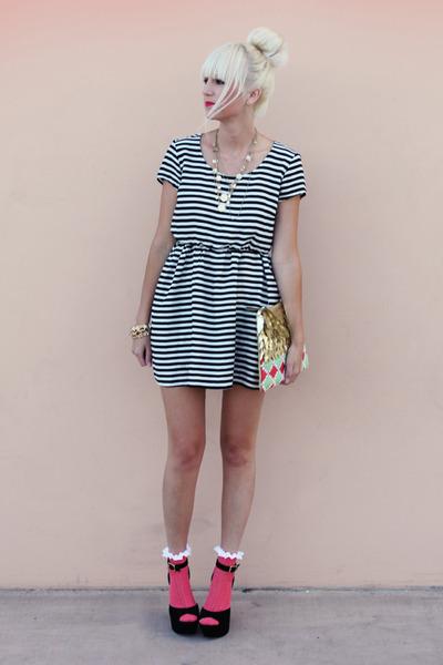 black H&M dress - gold Anthropologie bag - hot pink asos socks