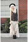 Black-jeffrey-campbell-shoes-black-vintage-hat-off-white-lace-maxi-free-peop