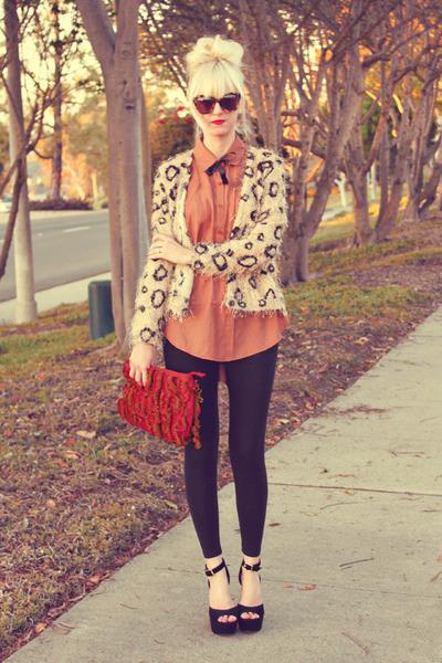 tawny Home blouse - tan causeway mall sweater - black H&M leggings