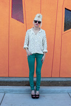 teal Mossimo pants - off white Forever 21 shirt - black Steve Madden heels