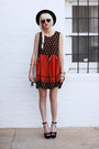 Ruby-red-minkpink-dress-black-vintage-hat-silver-h-m-bag