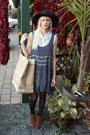 Brown-dolce-vita-boots-blue-free-people-dress-black-vintage-hat