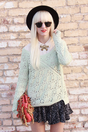 Anthropologie sweater - thrifted hat - bag - bycorpus shorts - H&M blouse