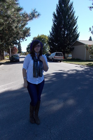 Borne boots - Forever 21 jeans - unknown hat - vintage scarf - JCPenney top