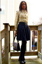 f21 shoes - thrifted shirt - vintage bag - Ulla Surland skirt - vintage belt