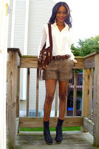 vintage shirt - f21 shorts - restricted shoes - vintage bag