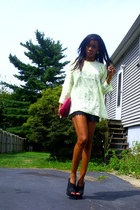 black lace sans souci shorts - thrifted shirt - carlos falchi vintage bag