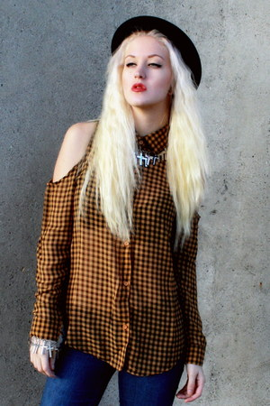 checkered Wasteland shirt - black bowler H&amp;M hat