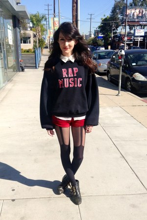 Topshop tights - UNIF shorts - Reformation sweatshirt - Equipment top