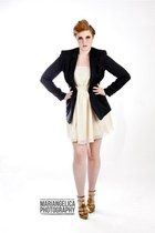 vintage blazer - cream H&M dress - gold Steve Madden heels