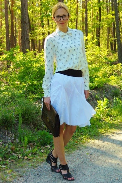 eggshell Zara blouse - brown vintage bag - white H&M skirt