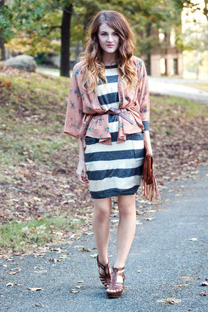 sweater f21 dress - fringe H&amp;M bag - Target sandals - kimono f21 cardigan
