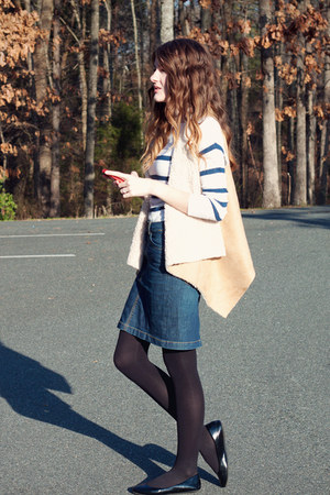 TJ Maxx vest - Jcrew sweater - denim high rise Forever 21 skirt