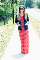 maxi Forever 21 dress - blazer - Old Navy sandals - Fossil watch