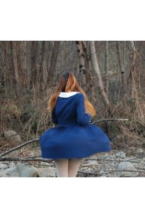 navy AsianICandy dress - cream wool Calzedonia tights