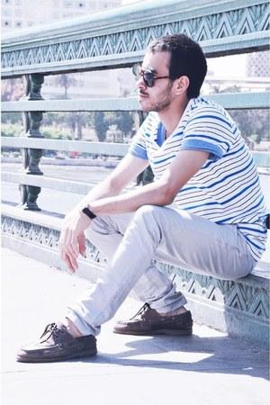 ray-ban glasses - H&M t-shirt - Bull&Pear pants