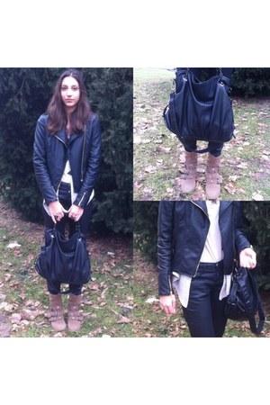black leather Stradivarius jacket - nude suede Bershka boots