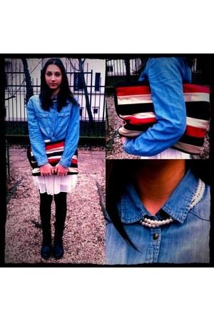 sky blue H&M t-shirt - black Stradivarius boots - white Zara dress