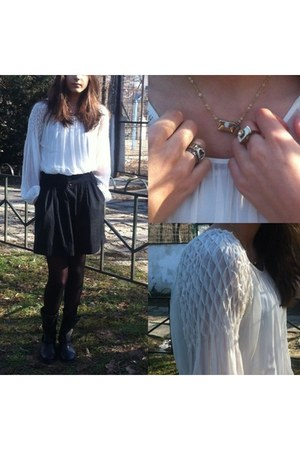 white Zara blouse - black Stradivarius skirt
