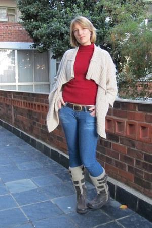 dark brown Luella boots - blue Lee Cooper jeans - beige Mr Price cardigan - bric