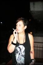 black DIY vest - black H&M shirt - silver H&M bracelet - black DIY necklace - si