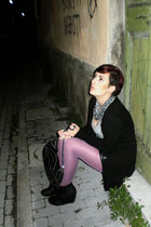 purple H&M tights - black H&M purse - black H&M shoes