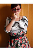 white Pimkie shirt - red H&M skirt