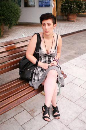 gray DIY dress - black shoes - black H&M purse - Rossella Carrara bracelet