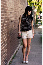 cream scalloped H&M shorts - beige Marco Santi shoes - black Forever 21 shirt