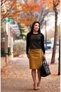 Black-studded-express-sweater-mustard-j-crew-skirt-mustard-forever-21-heels