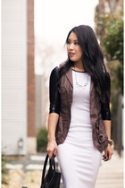 dark khaki windsor vest - white Choies dress