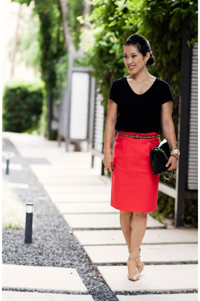 red pencil JCrew skirt - camel studded pumps Sole Society shoes