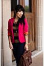 Hot-pink-zara-blazer-brown-strappy-charlotte-russe-boots