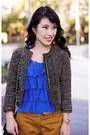 Tweed-forever-21-jacket-ruffle-loft-shirt-chanel-purse-marco-santi-pumps