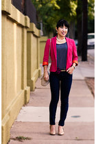 hot pink Zara blazer - camel patent Mossimo shoes - navy BDG jeans
