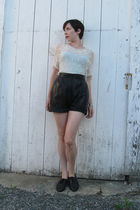 black danier shorts - white thrifted shirt - black thrifted shoes - brown kate s