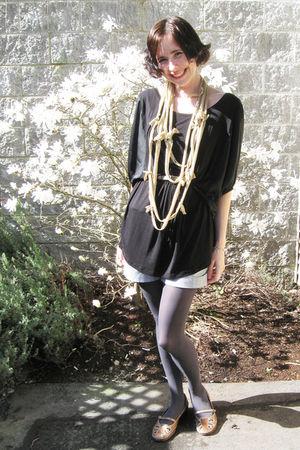 black kische shirt - gray joe fresh style tights - blue winners shorts - beige r
