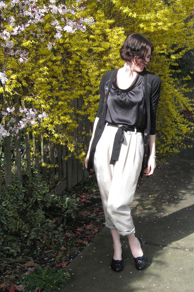 beige thrifted pants - black from winners shirt - black from winners cardigan -