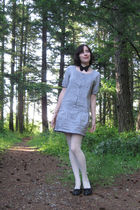 white thrifted stockings - gray Gap dress - black naturalizer shoes - black thri