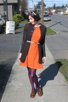 orange H&M dress - purple tights - white winners belt - brown naturalizer shoes